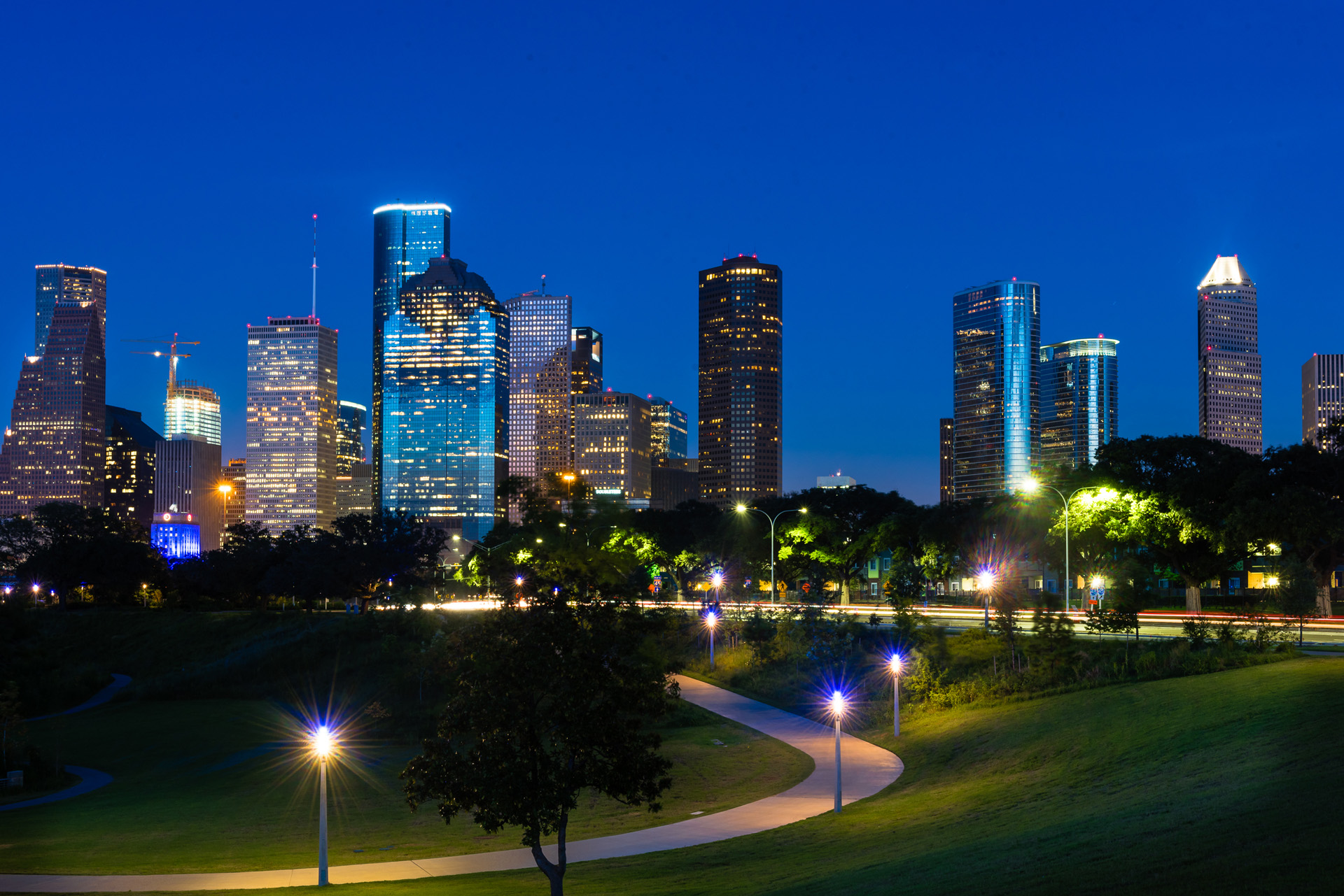 Illuminated Houston Skyline at Night.
